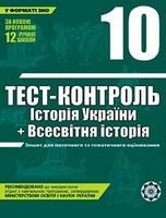 Тест-контроль Історія України + Всесвітня історія 10 клас